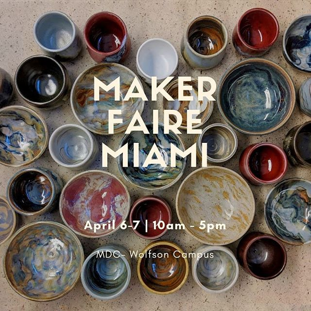 Come join me and my fellows at the Maker Faire! We will be at the FIU Ratcliffe Art + Design Incubator booth. I'll have many pieces for sale, so if you're interested in any of the pieces you've seen me post lately you should definitely pass by!