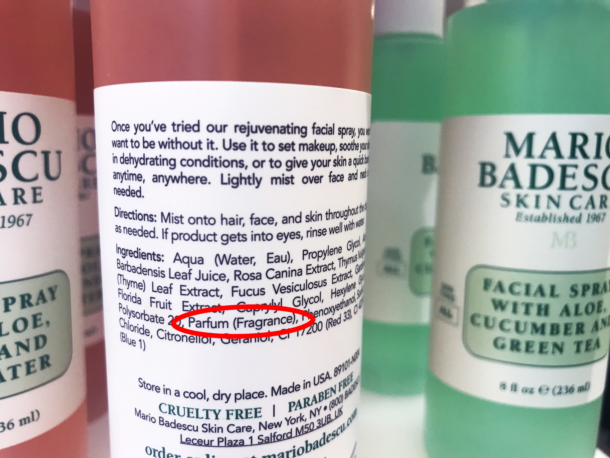 Mario Badescu Skincare - facial spray with aloe, herbs and rosewater. Sounds natural? Not quite.