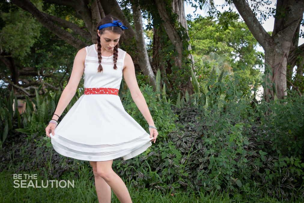 Jess in her zero waste 4th of July attire (dress from a local thrift store, belt/headband made from repurposed fabric). Photo by: Justin Dalaba.