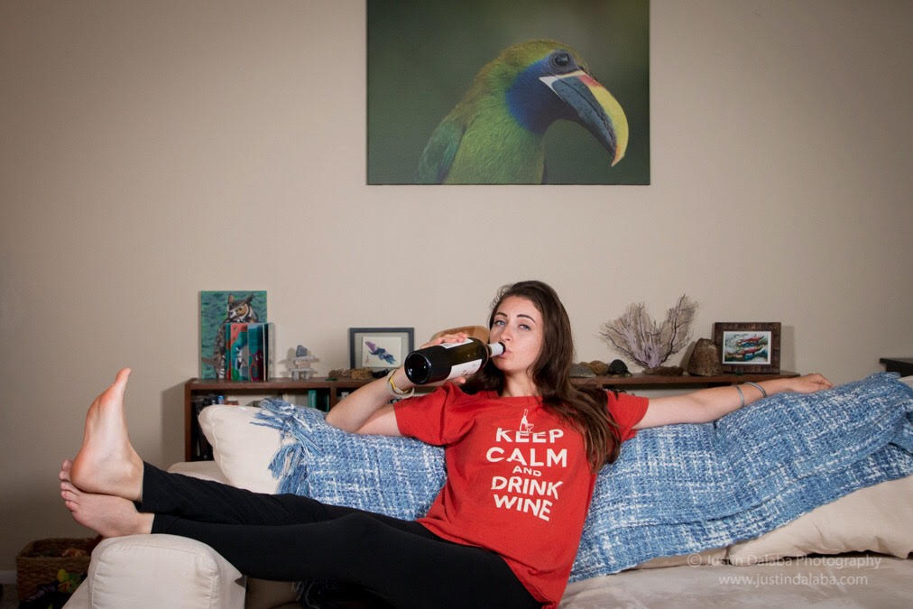 """Quiet Night In - For those long days and longed-for glorious evenings. Every once in a while I need a """"me"""" night. A bottle of wine and Netflix is my savior and sweet spot. The perfect $3 shirt for the occasion pair with a comfy pair of leggings."""