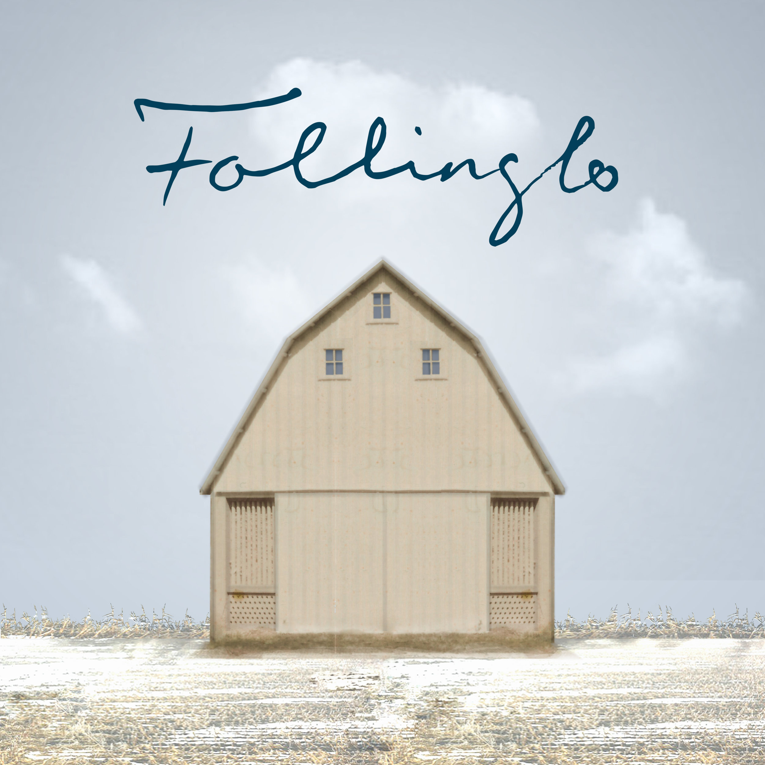Follinglo Podcast cover art - Designed by Katie Crumrine, daughter of Ingeborg Tjernagel Schey. The image was created using a photo of the corn crib destroyed in the fire caused by the explosion.