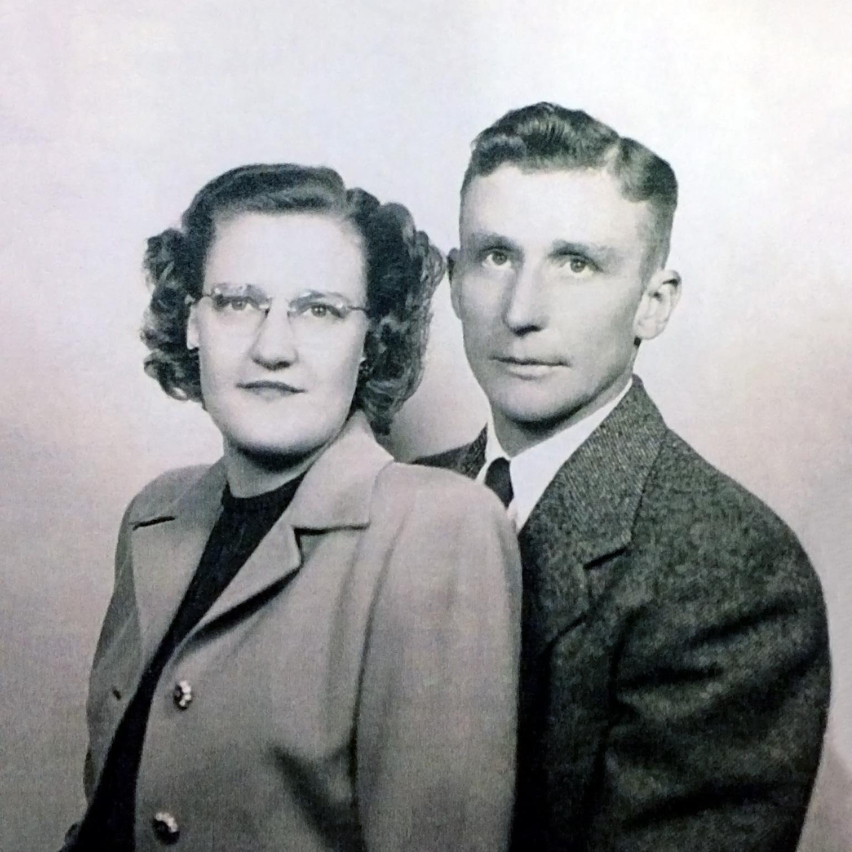 Marie and Peder J. Tjernagel, wedding photo, September 20, 1947