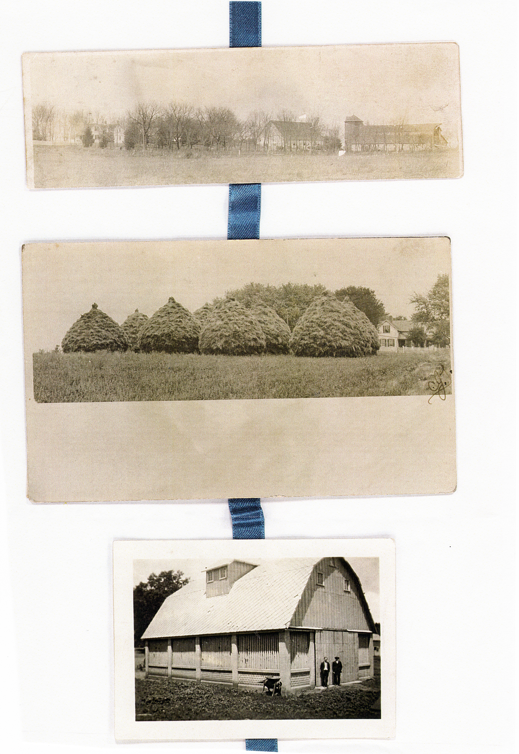 Top: view of Follinglo farm from the Southeast Middle: Bales of hay on Follinglo farm Bottom: Follinglo corncrib