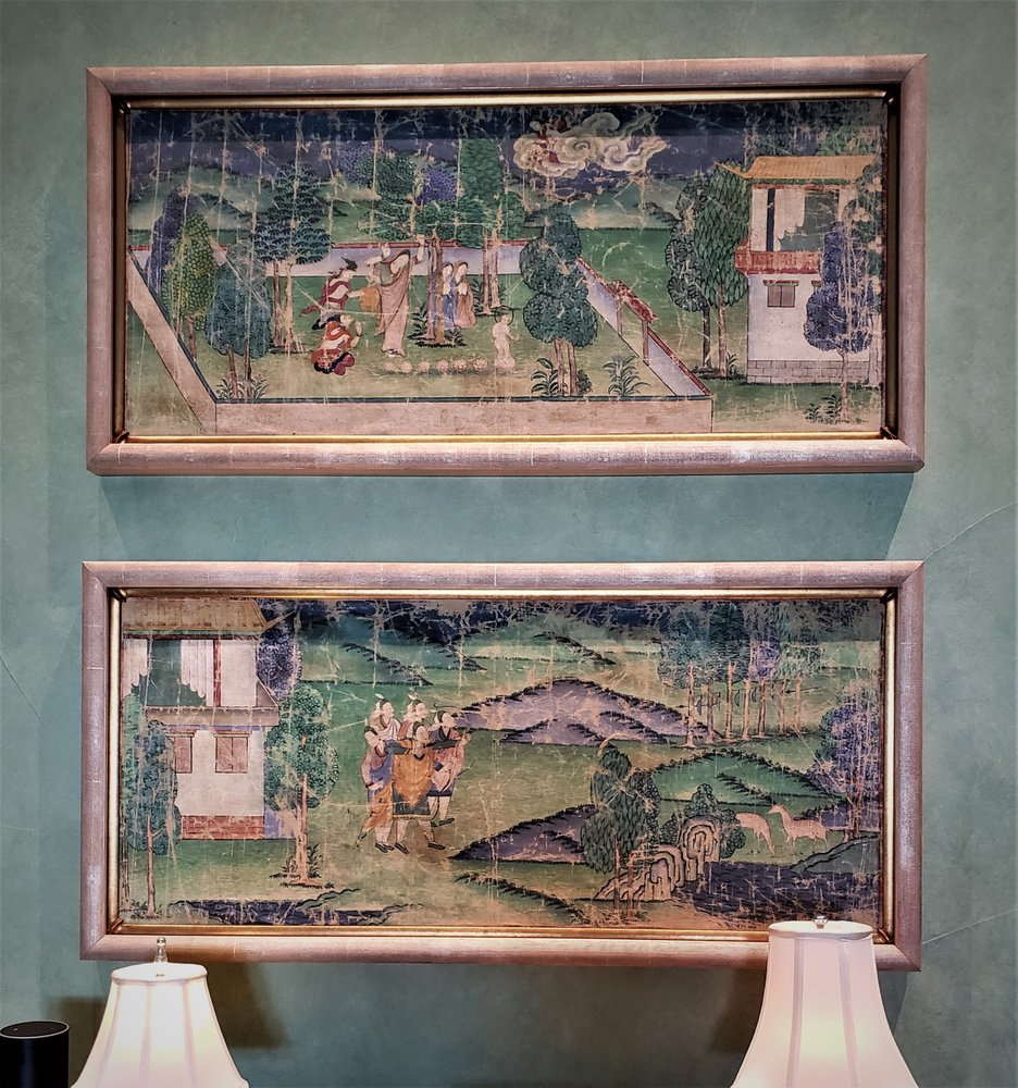 Early 1800 Asian Paintings Double Framed with Gilt inside Frame and Champagne Wash on Outer Frame