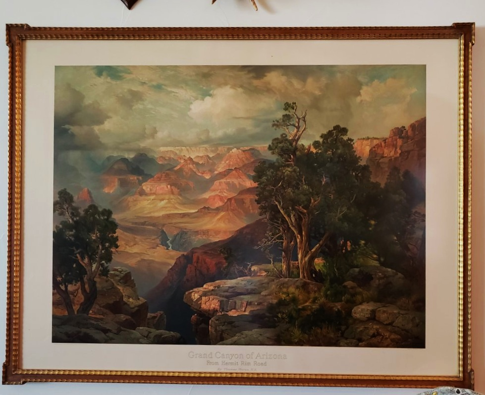 Thomas Moran Chromolithograph 1912. Framed in Pecan Burl and Gold Frame with Keyed Corners