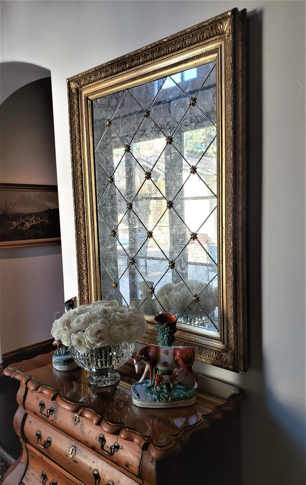 Antique Harlequin Mirror in 1800's Gilt Frame with Rosettes