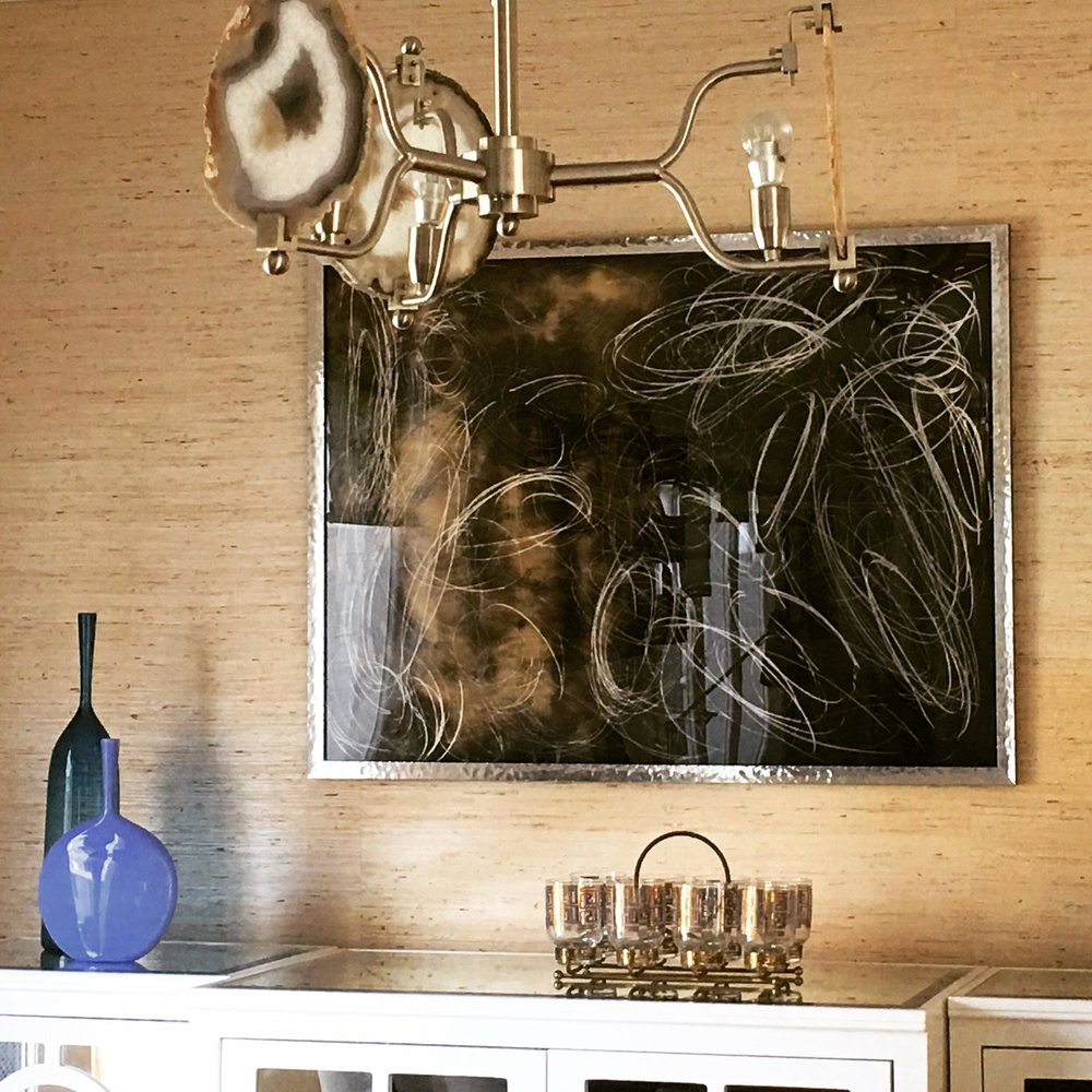 Natalie Cheung Chemograph framed with contemporary hammered mirror finish