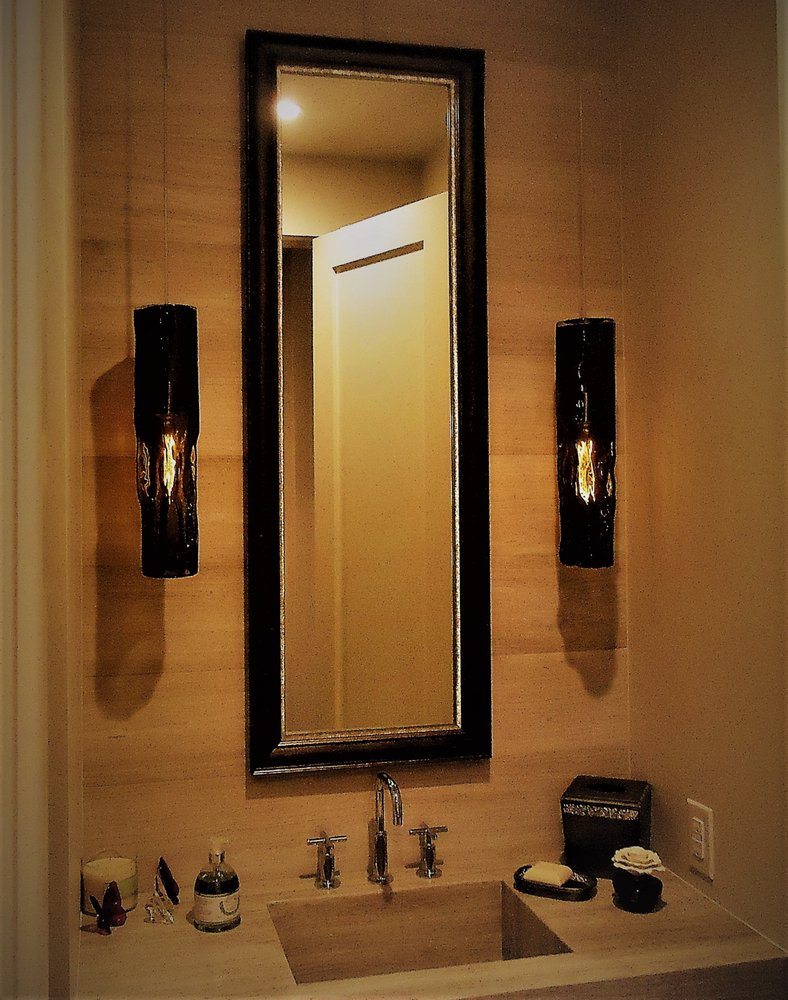 Bronze Petina and Silver Textured Stacked Frame for Powder Room