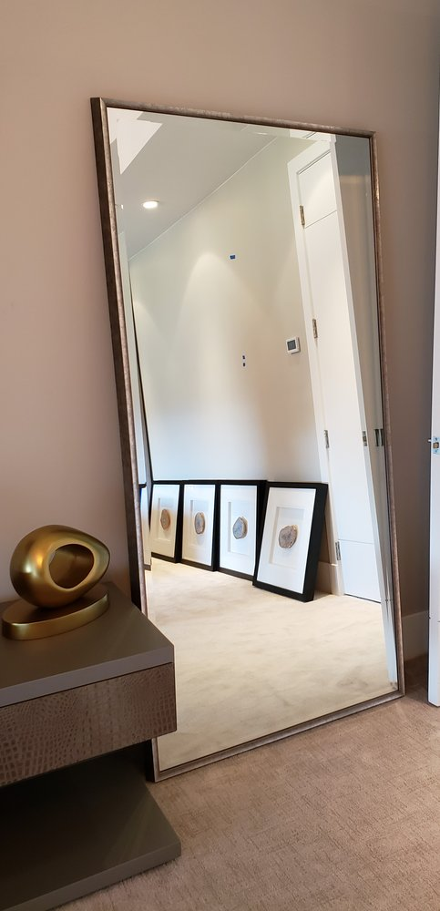 """Pair of 84"""" Leaning Mirrors for master bedroom. Larson Juhl Silver Bronze Petina frame"""