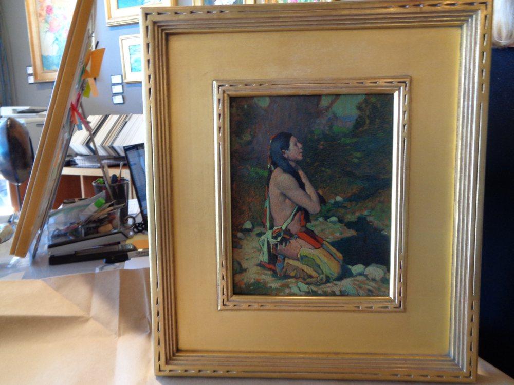 E. Irving Couse Original Oil 18K Custom Hassam Chip Carved Frame
