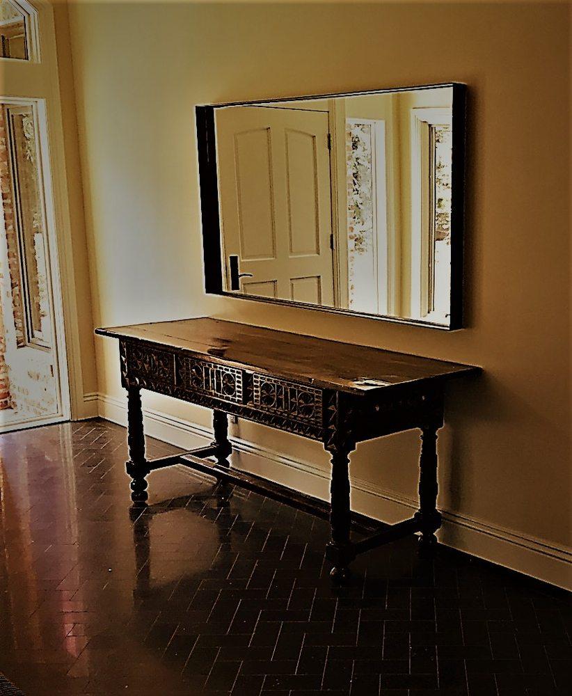 Custom Welded Bronze Patina Recessed Mirror Frame