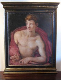 """""""Brotino"""" Oil on Panel Hand Crafted Scaffito  Tabernacle Frame"""