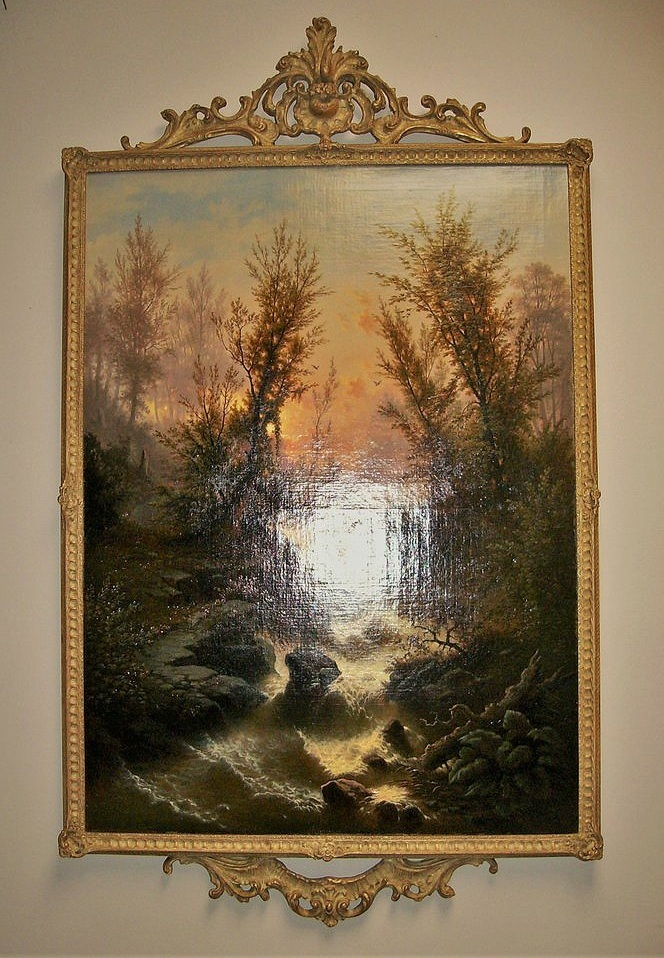 19C English Landscape with Gilt Modified Denture and Pedament Frame