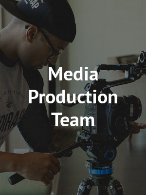 • video editor  • interviewer  • announcer  • photographer / videographer  • graphic / web designer  • marketing / advertising  • design team  • set / prop constructor