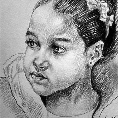Retrato de Isla Sofia. Lapiz sobre papel cansson.
