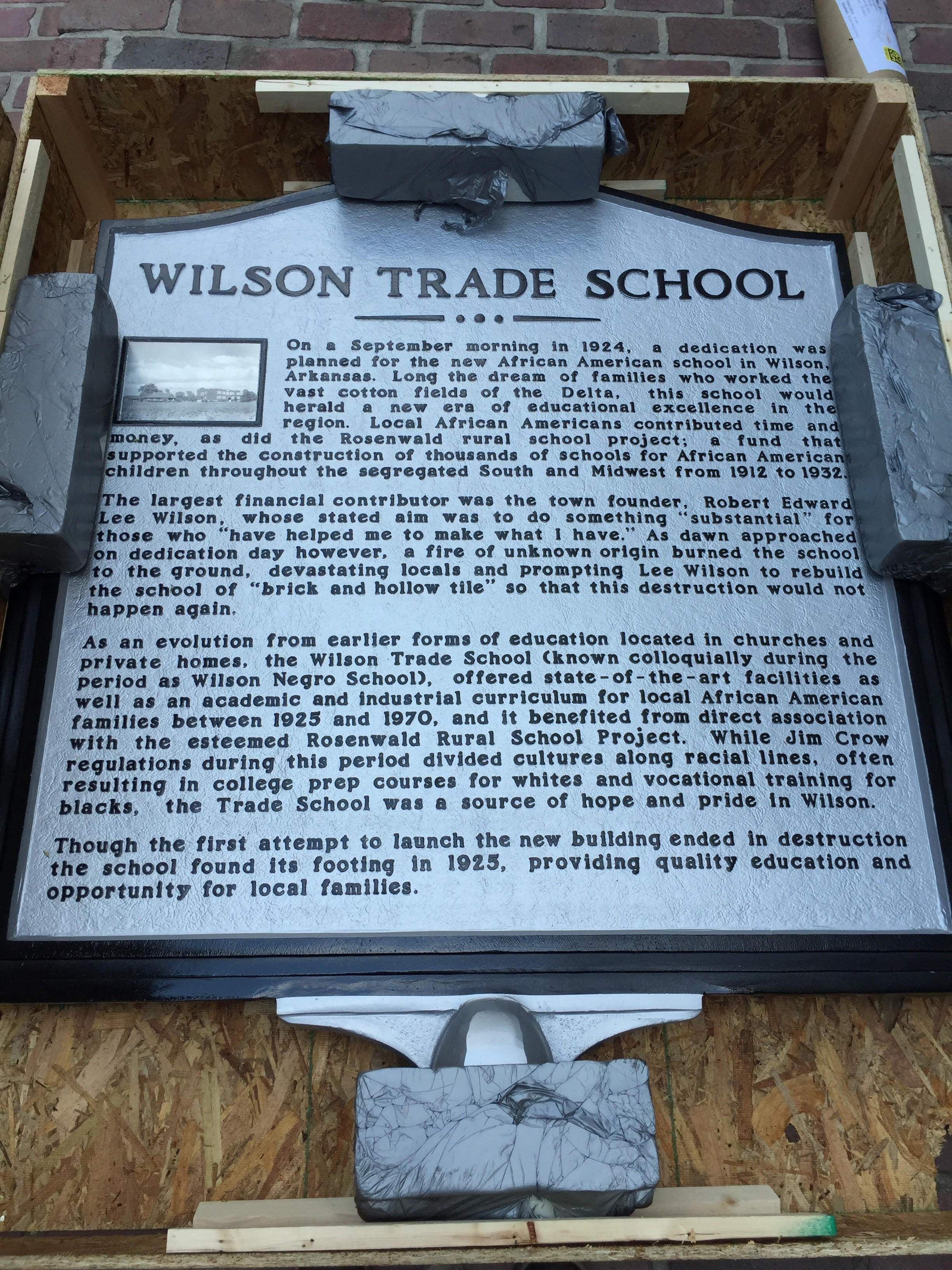 Wilson Trade School - As part of my work as Director of Communications and Brand Strategy on the revitalization project in Wilson, Arkansas, it was necessary to broaden the public historical narrative of this unique town and surrounding landscape. From 1925 to 1970, this school served as the formal educational opportunity for African American children in Wilson. Funds for the school were raised in 1924/25 by the local African American community, R.E.L Wilson - the town founder, and from the Rosenwald Rural School Project - a fund created by Julius Rosenwald and Booker T. Washington that supported the construction of thousands of schools for African American children throughout the segregated South and Midwest from 1912 to 1932. I worked with the The Wilson Trade Alumni Association, local leadership, and the Wilson Trade Community Center Advisory Committee to re-envision this cultural landscape and produce a historical marker at the site. At the time, only the concrete foundation outline of the original school building remained within a larger spatial context that includes the Wilson Bicentennial Memorial, a ball field, and a Gym Building that was used for community events until falling into disrepair in recent years. This project created an opportunity to publicly commemorate and interpret the important Trade School history, and it initiated a local conversation about transforming the Gym structure into a multipurpose space that will help to bridge all communities in Wilson.