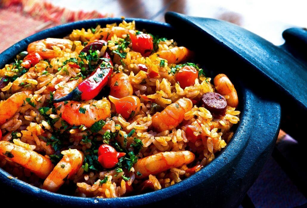 Colorful rice dish with peppers