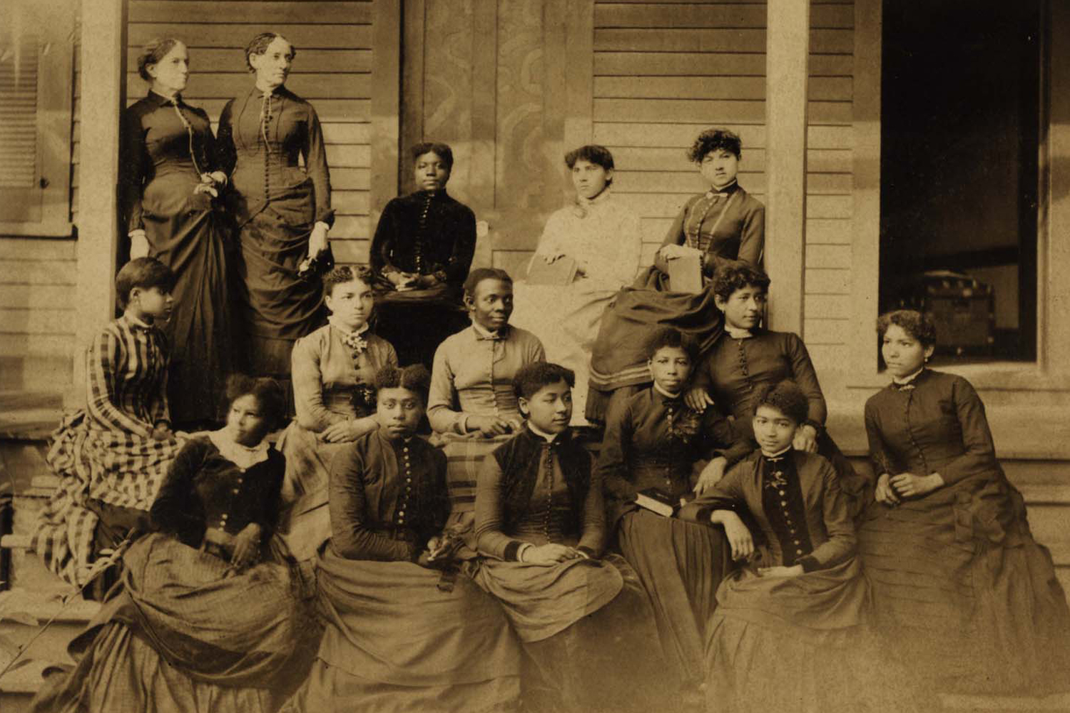 """""""Sophia B. Packard and Harriet E. Giles with Spelman Seminary Students"""" (2018).  Spelman College Photographs Collection, Presidents. 6."""