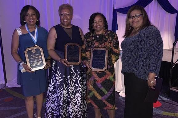 2019 Merit Award Receipients Barbara Dancy Edwards, Lauri M. Sanders and Deidra L. Fryer with Tara L. Buckner