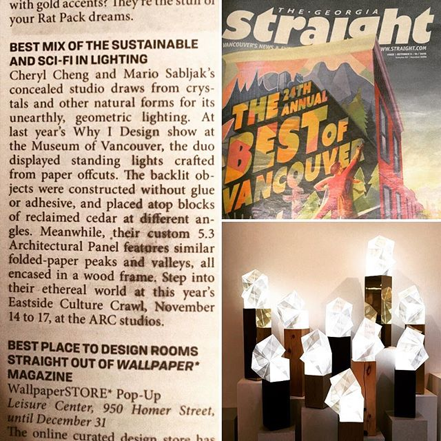 thank you @georgiastraight for the nice write up in this weeks 'The best of Vancouver' issue . . #bestofvancouver #georgiastraight #art #artist #design #designer #fashion #architecture #interiordesign #interior #vancouver #madeincanada #unique #light #lighting  #sifi #sustainable #sustainability #concealedstudio #tgif