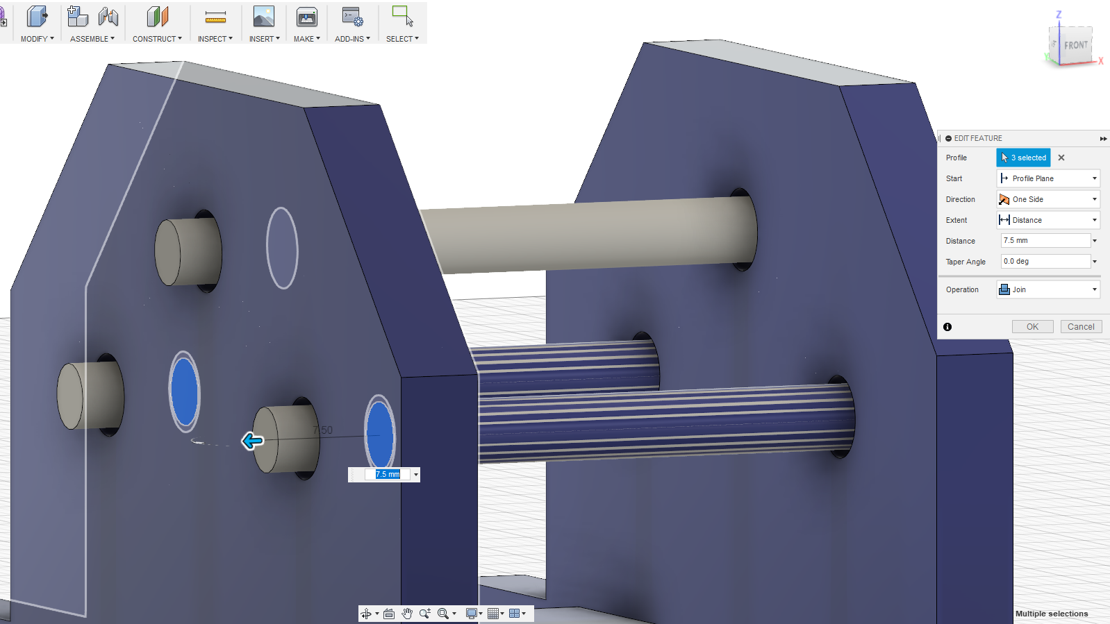 CAD work in progress for the chassis of the Walking Robot mechanism.