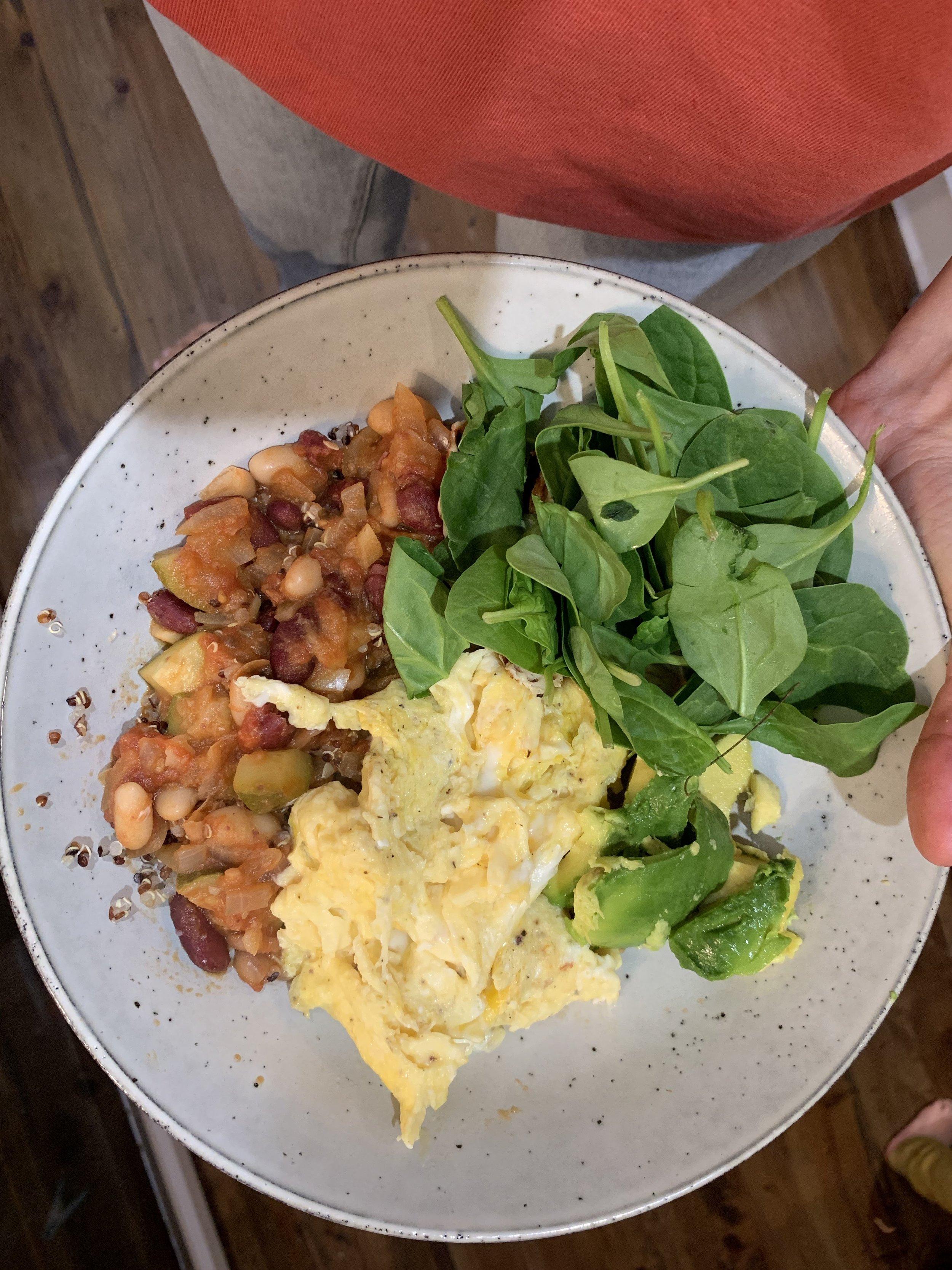 beans, eggs,