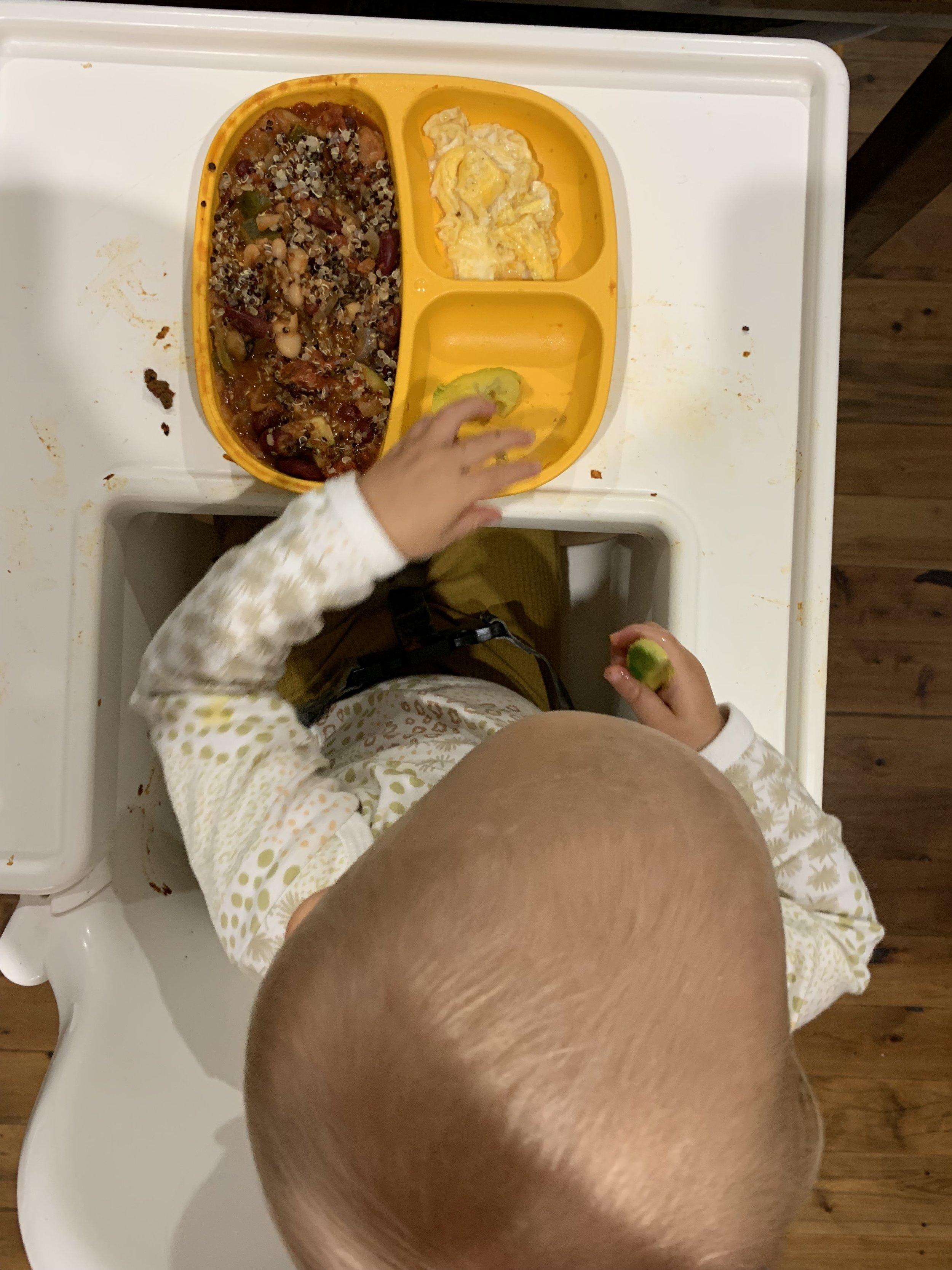 blw quinoa, beans and turmeric eggs