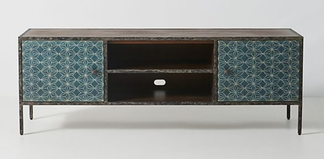Brown and Blue Media Console