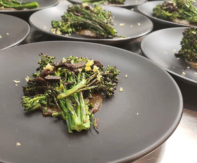 Roasted broccolette with black garlic, bagna cauda, and shaved egg yolk.  #eatme #thebozemansupperclub #blackgarlic #radass #radfoodmt #plateitnice #blackonblack #bozeman #handmade #bigsky #local #whatwedo #tastemade #foodporn