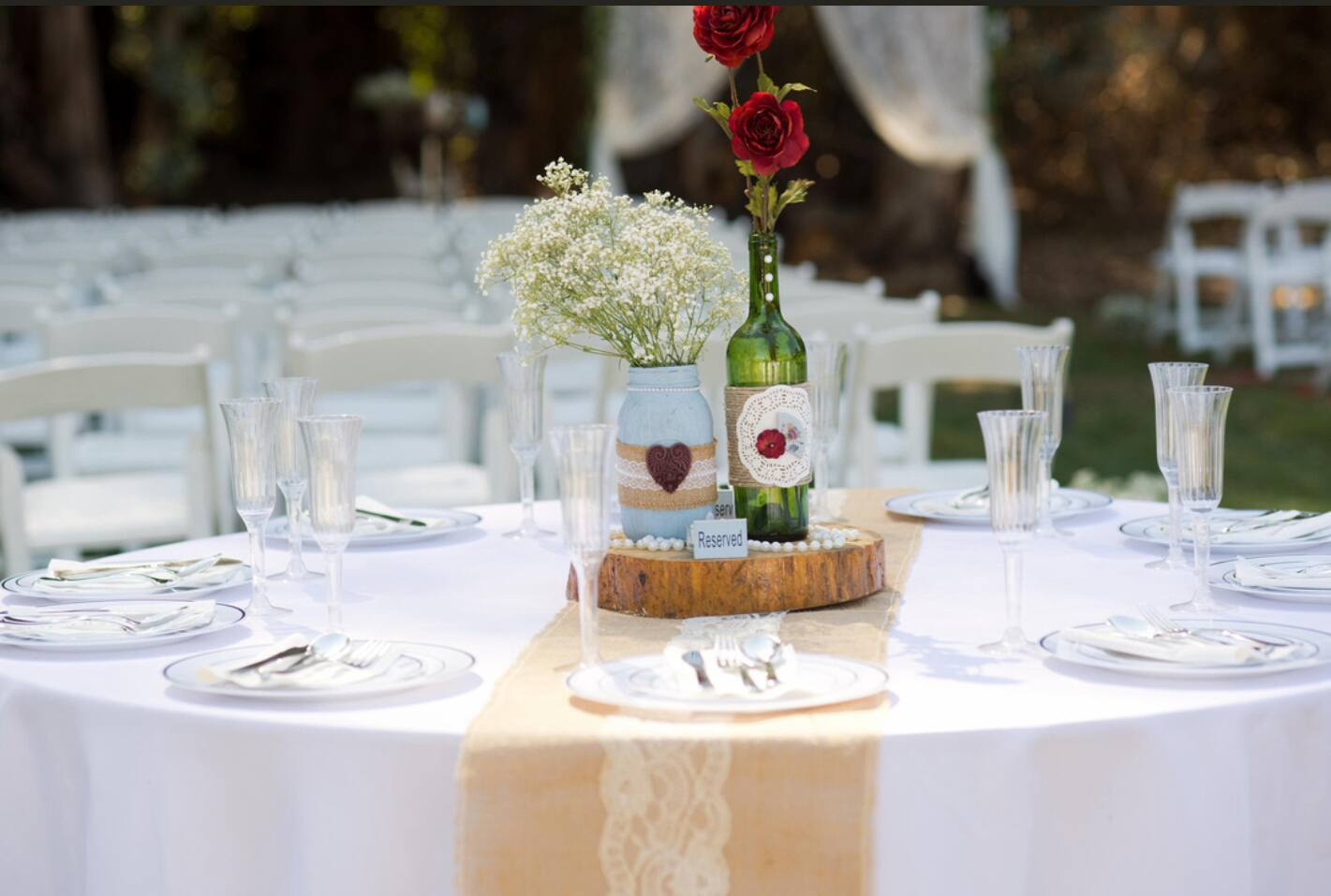 Handmade items adore and decorate each guest table.