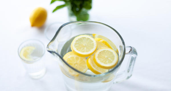 water jug and lemon