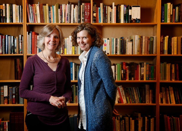 Jean McAulay (left) and Shannon Cerise, founders of the Multicultural Women's Book Club, at the Dallas Institute of Humanities and Culture in Dallas.  (Rose Baca/Staff Photographer)