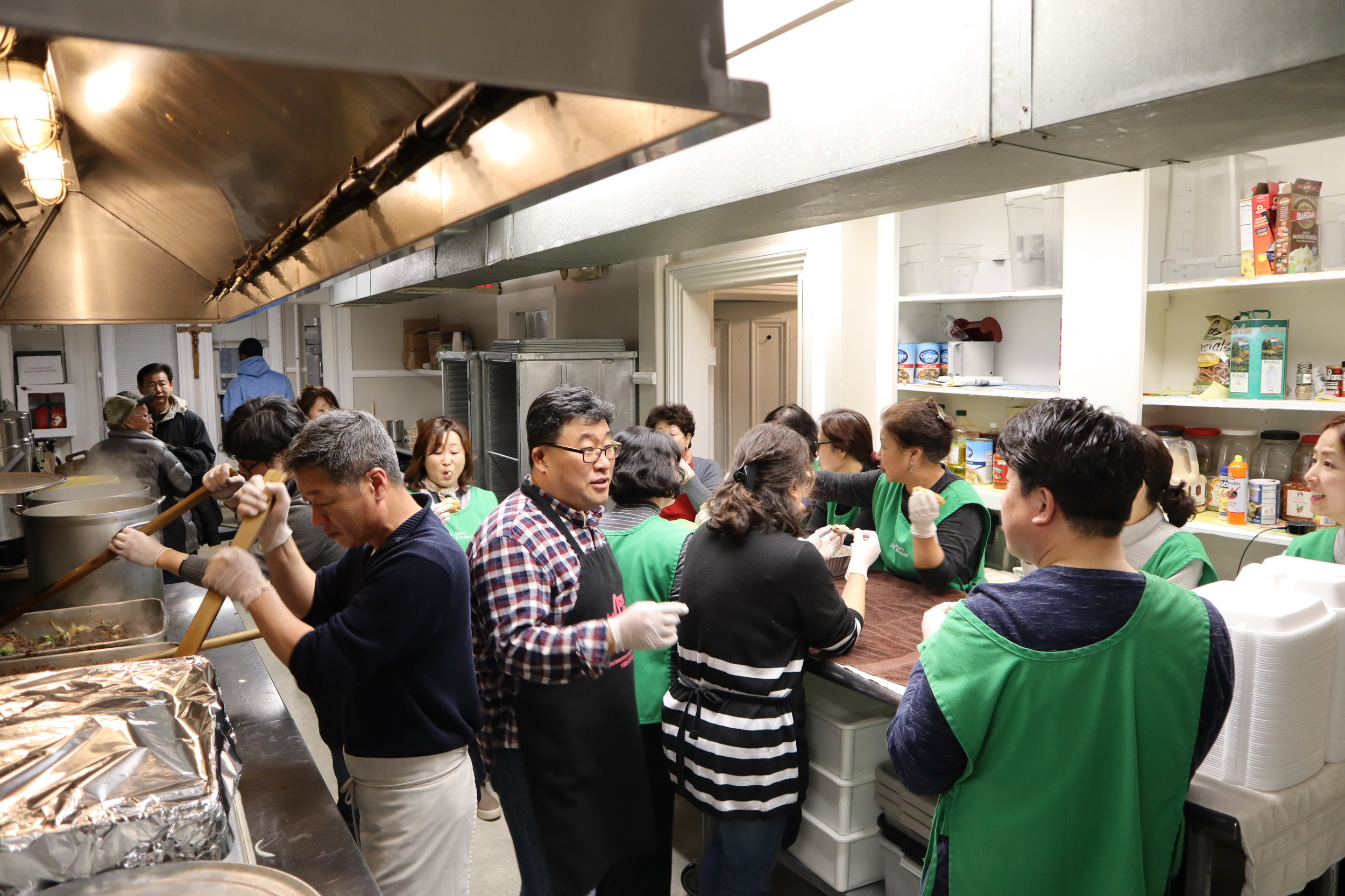 Everyone working together in the kitchen!