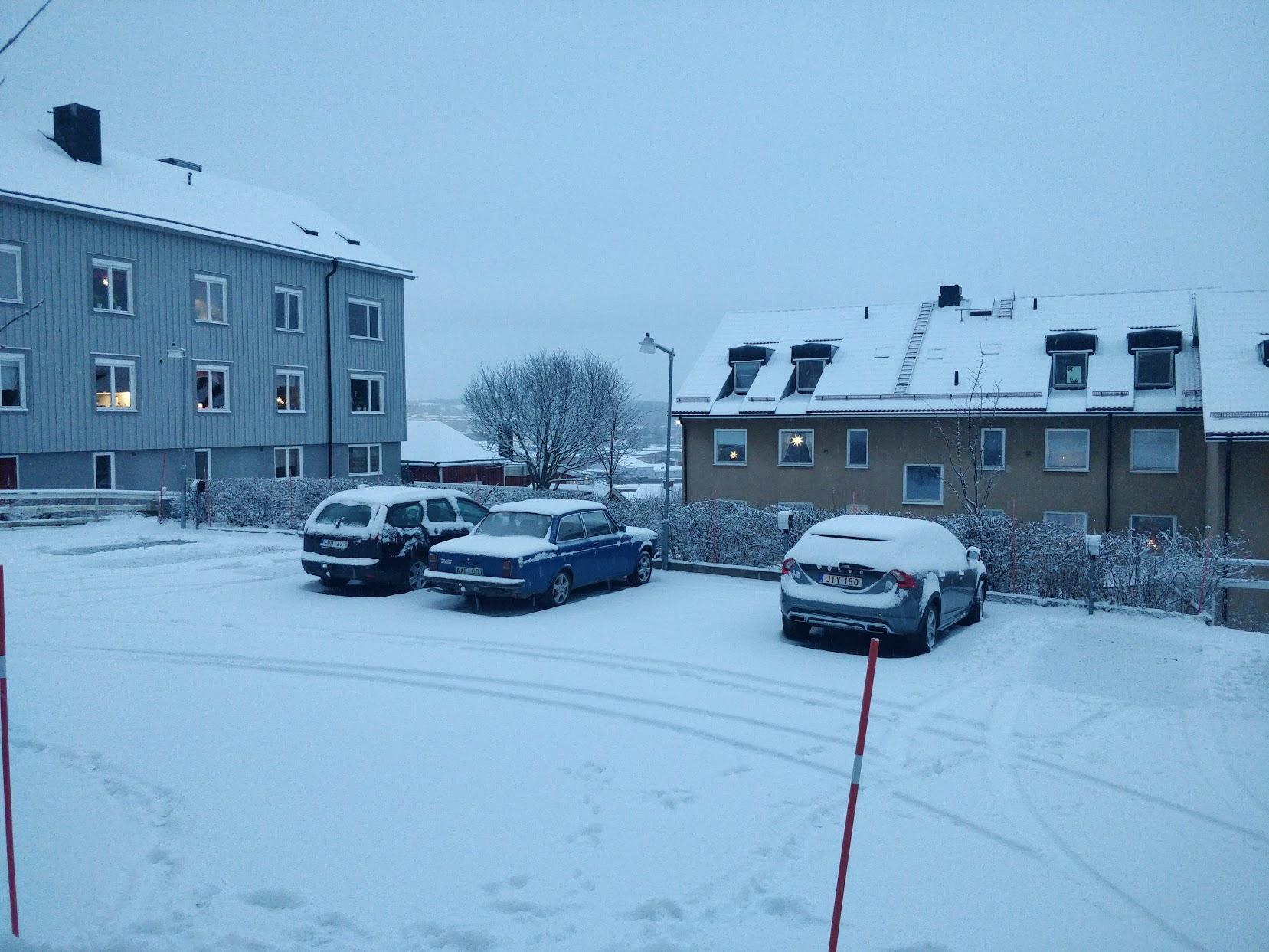 Snö! Kom ännu mer under dagen.
