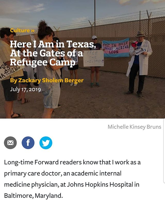 "We are so moved by the op-ed in Forward by one of the 1st #CitizenPresence volunteers @zackbergermdphd  Read in full👇 https://forward.com/culture/427658/here-i-am-in-texas-at-the-gates-of-a-refugee-camp/ ""I asked on Twitter whether someone could give me a lift in their car from the Baltimore-DC area to El Paso. Into my inbox popped a message from the law professor and human rights activist Heidi Li Feldman: ""If I raise the money for you, would you go?"" It was one of those social media miracles, or perhaps a virtual visit by Elijah the Prophet. Surprised, I typed out quickly – ""yes of course."" I left the computer for 20 or 30 minutes, and when I got back, the necessary funds had landed in my PayPal. ...The sun was setting and clouds cooled the oppressive heat. There were honks from a number of passing cars, some supportive, some scornful. We held signs calling to free the imprisoned, to close the camps. I made a sign with the words ""Keyn mol mer"" – Never Again, in Yiddish. I davened Mincha at the wall. We saw a white bus approach, an ICE logo on the side. It drove up to the facility and some teenagers emerged – refugees, freshly captured. We started to chant in Spanish ""Estamos con los niños"" – we are with the children. But the children were taken away hastily, soon hidden by the walls and doors of the camp. I had brought poetry, and the setting sun marked an appropriate time to read it. I recited a Yiddish poem written in 1940 by H. Leivick entitled ""My Father Used to Call It Chatzos,"" accompanied by my translation. In it, the poet expresses his desperation about the moral crisis of the day, his feeling of unrootedness from his tradition accompanied a desire to commemorate his anguish for posterity. Sunset. We lit candles. After our assembly, with signs, conversations, determination, and chants, our bearing witness to injustice, I didn't feel so alone. I won't ever forget this year's Fourth of July. I hope that we won't need to call attention in future years to such cruelty, but I fear otherwise."" #NeverAgainIsNow #jewsagainstice 💔🕯"
