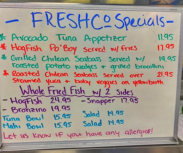 Who's ready for today's specials? It's lunchtime and @freshco_fish is ready to serve!