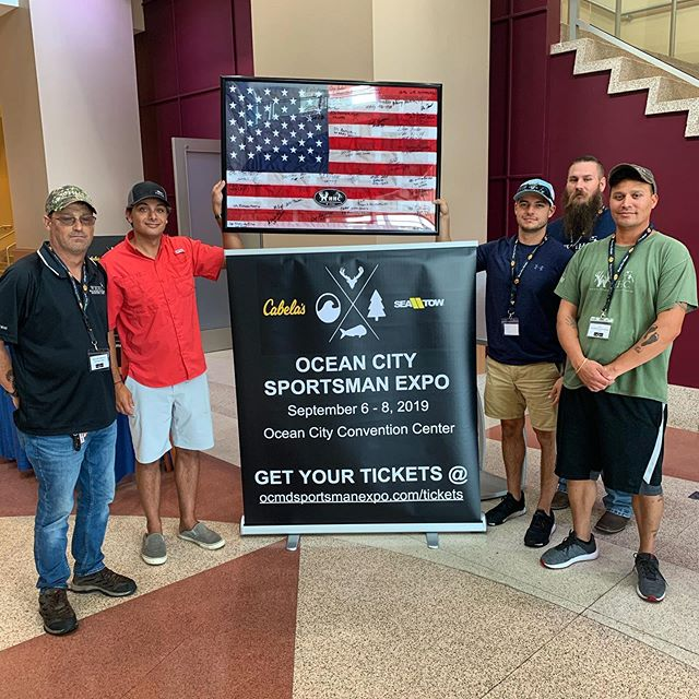 Thank you to the #WoundedHerosHuntingCamp for the gift! They had every veteran that walked into the @ocmdsportsmanexpo sign a framed American Flag! These guys are the real hero's that allow us do what we do, and we cannot thank them enough! #OceanCity #OceanCitySportsmanExpo #SupportOurVeterans