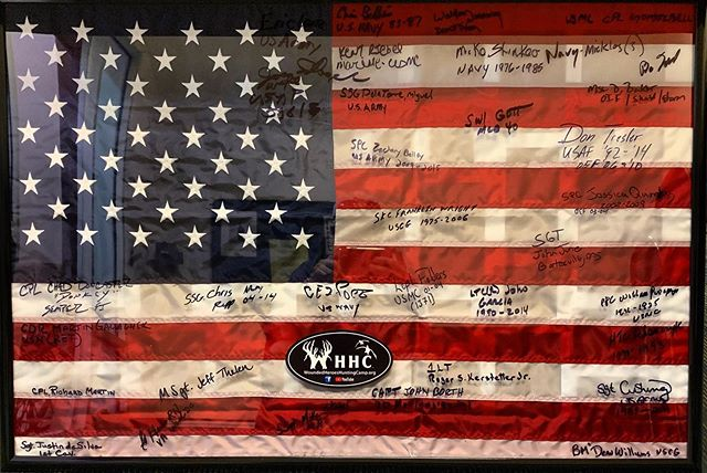 This past weekend, every Veteran that attended our expo signed an American flag enclosed in a glass case, as a thank you for having them at the expo! This is one of the greatest gifts we have ever received. It was a very special moment and one I will never forget! We are proud to support Veteran owned companies! Today we remember 9/11, we remember and thank all those who have served and continue to serve, and those that lost their lives 18 years ago, and on the battlefield since that day. #LestWeForget #NeverForget #SupportOurVeterans #WoundedHerosHuntingCamp