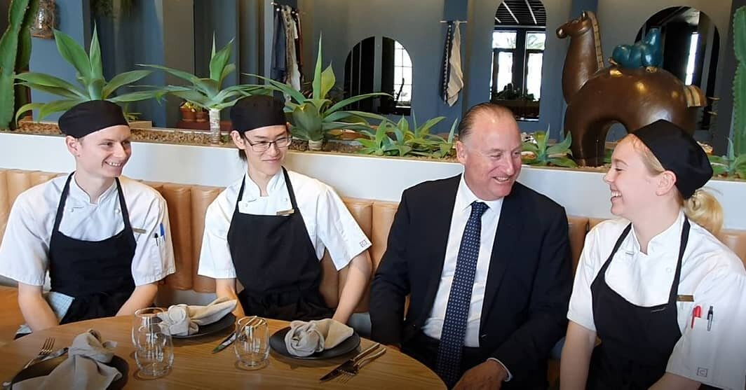 Uma apprentice chefs with Steve Irons MP during National Skills Week