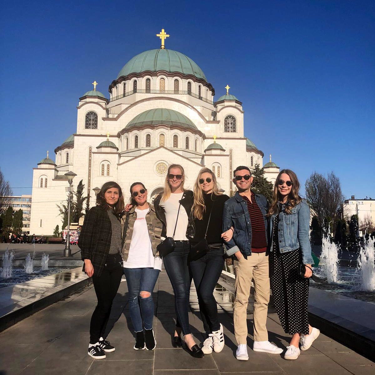 My best friends and I in front of the Church of Saint Sava in Belgrade