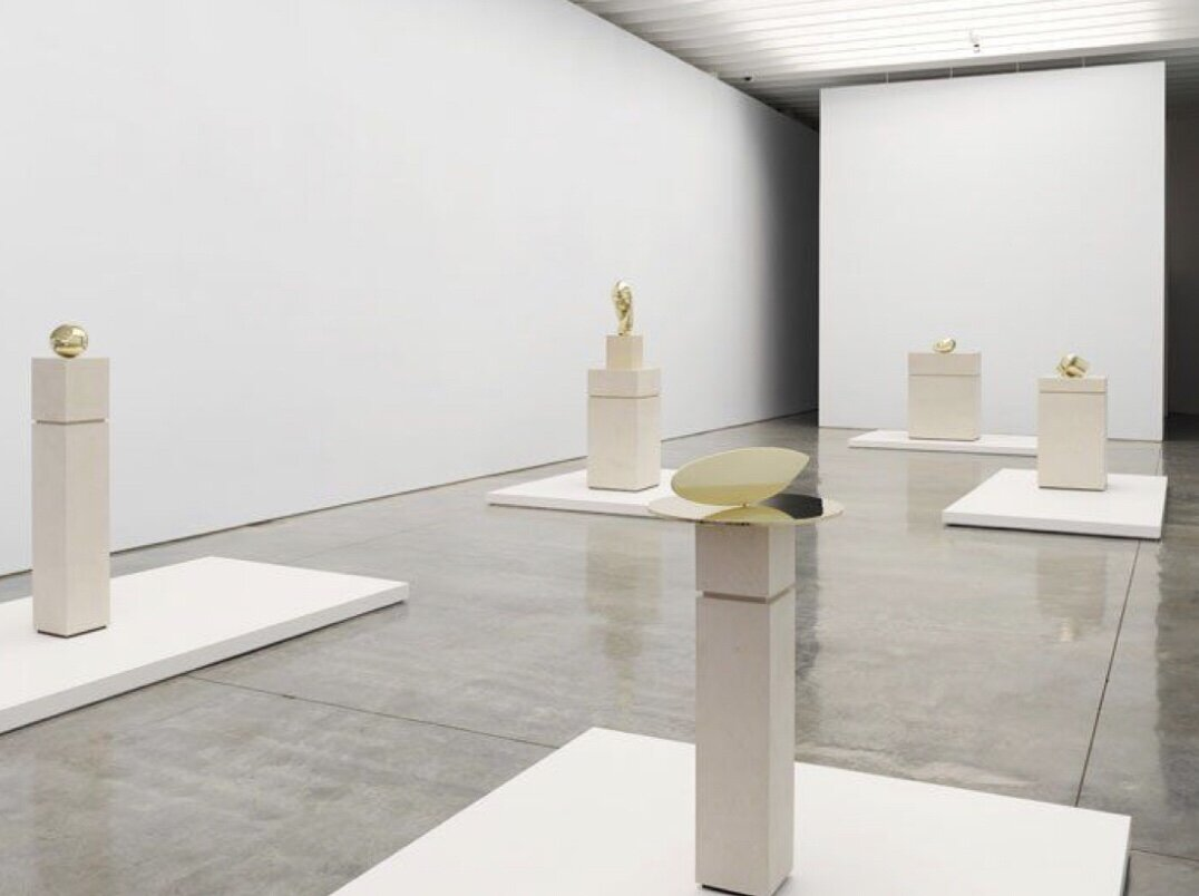 """Artist   Constantin Brancusi   Titles   The Newborn  Mademoiselle Pogany II  Sleeping Muse II  Head and Fish   Installation view at Paul Kasmin Gallery during the exhibition """"Brancusi in New York 1913-2013 """"."""