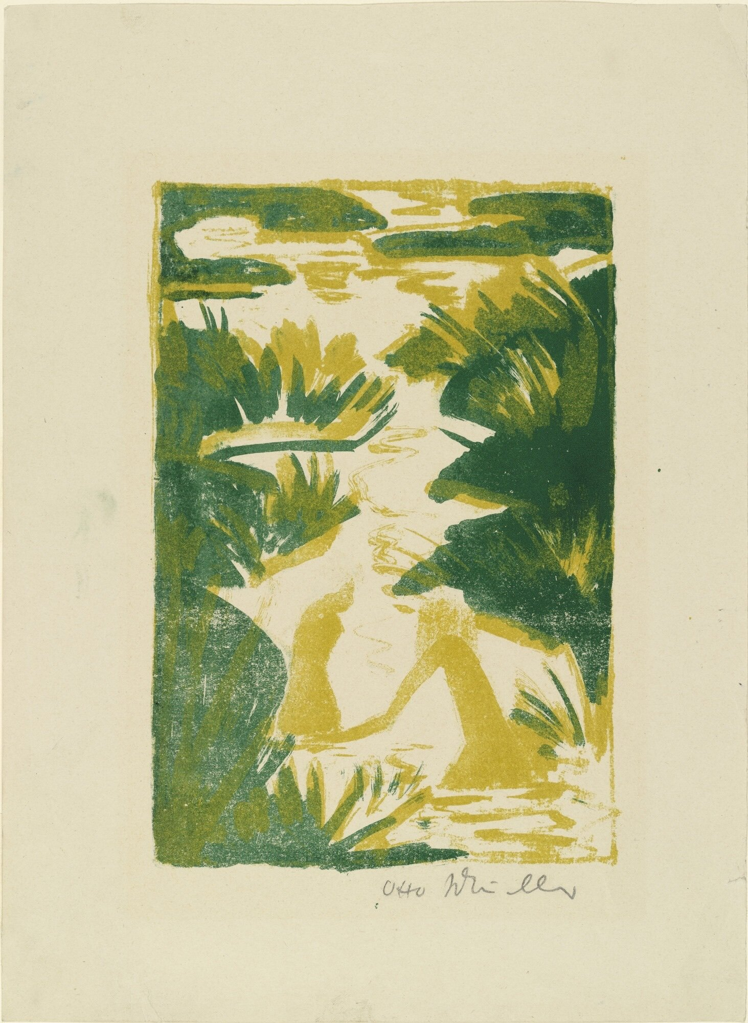 Artist   Otto Mueller   Title   Two Bathers in a Brook   Date   Ca. 1922   Medium   Lithograph   Image at   @moma.org