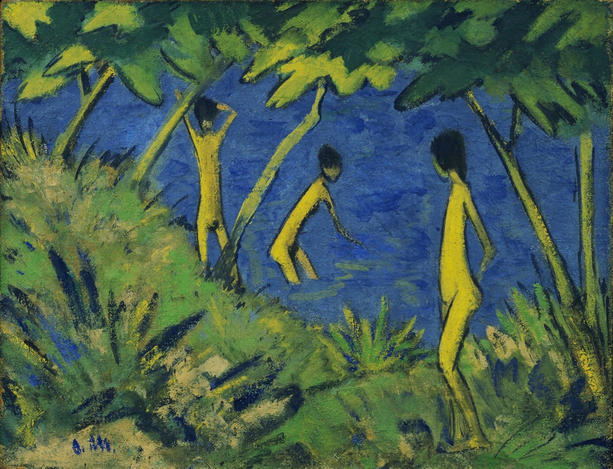 Artist   Otto Mueller   Title   Landscape with Yellow Nudes   Date   Ca. 1919   Medium   Oil on Burlap   Image at   @moma.org