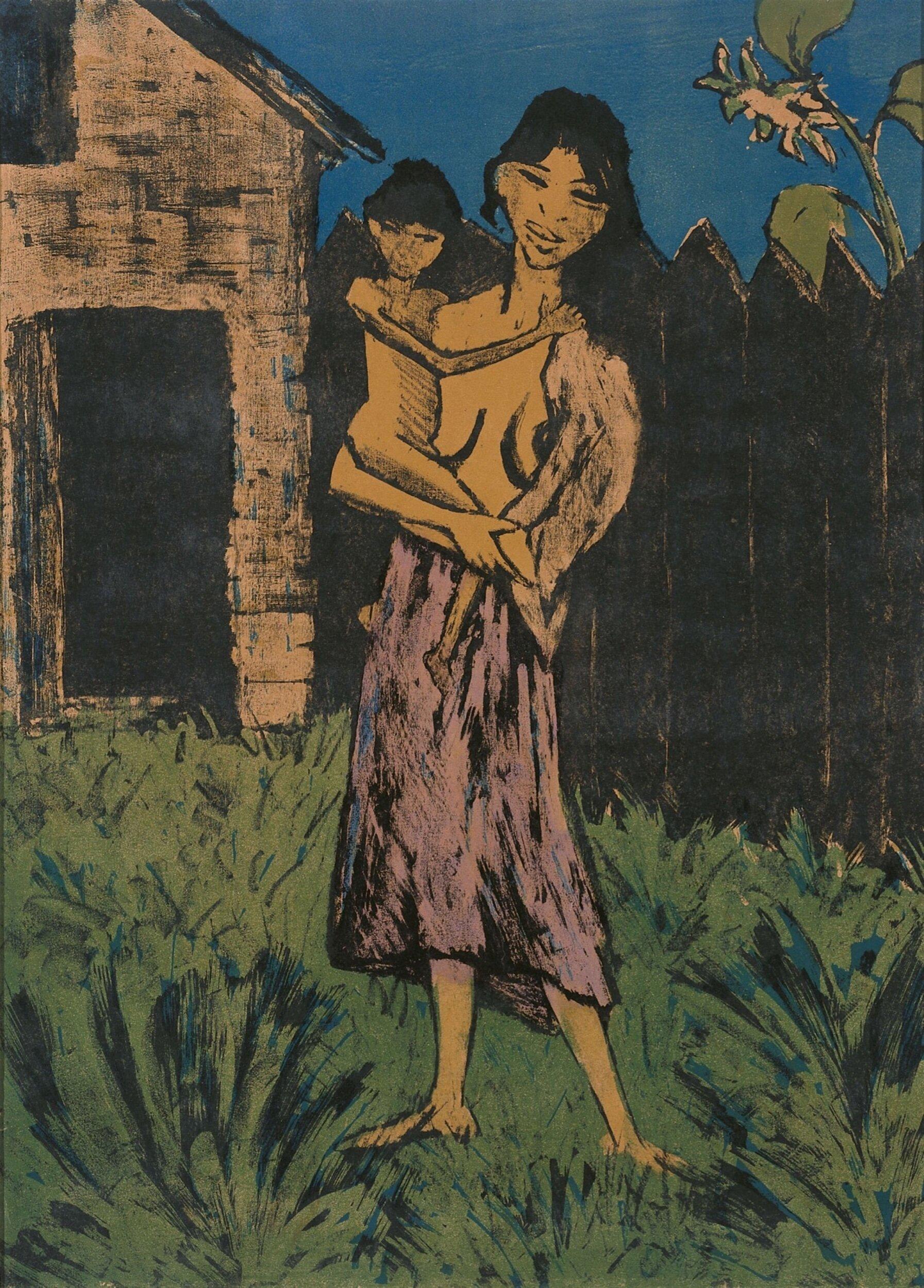 Artist   Otto Mueller   Title   Stehende Zigeunerin Mit Kind Auf Dem Arm   Image at   @wikiart.org
