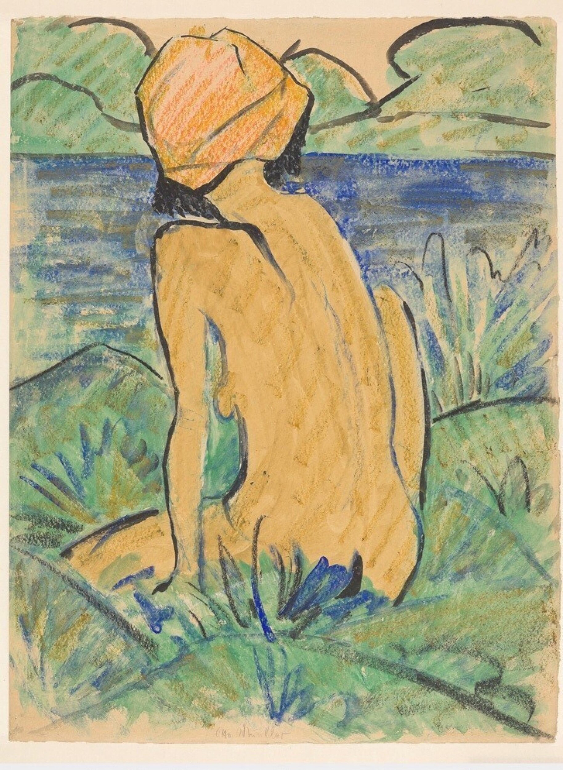 Artist   Otto Mueller   Title   Naked woman seen from the back   Image at   @pinterest.com