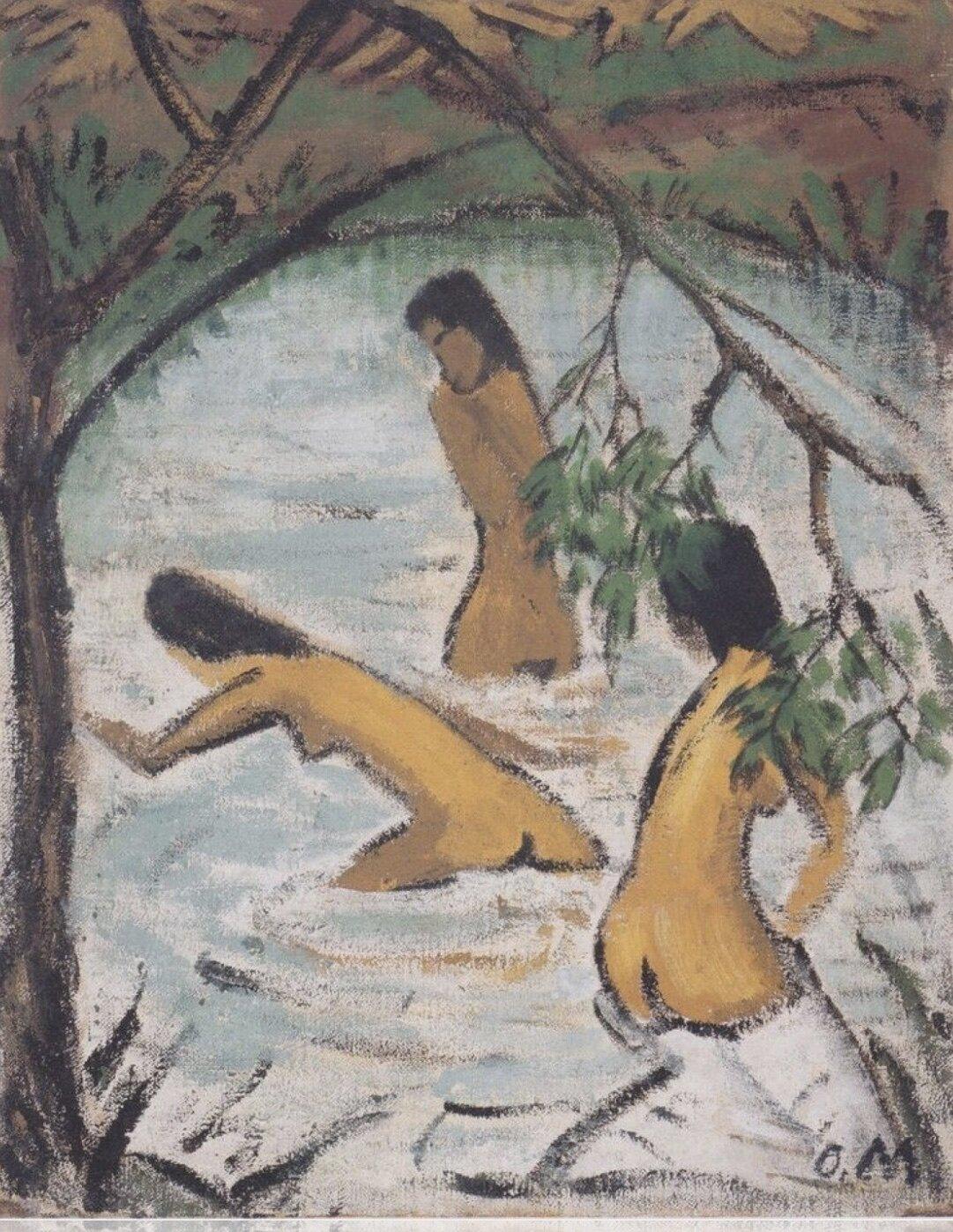 Artist   Otto Mueller   Title   Drei Badende im Wasser   Date   Ca. 1913   Image at   @moma.org