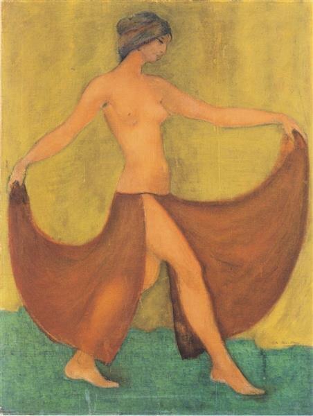 Artist   Otto Mueller   Title   Tänzerin (maschka, Tanzend)   Date   1903   Image at   @wikiart
