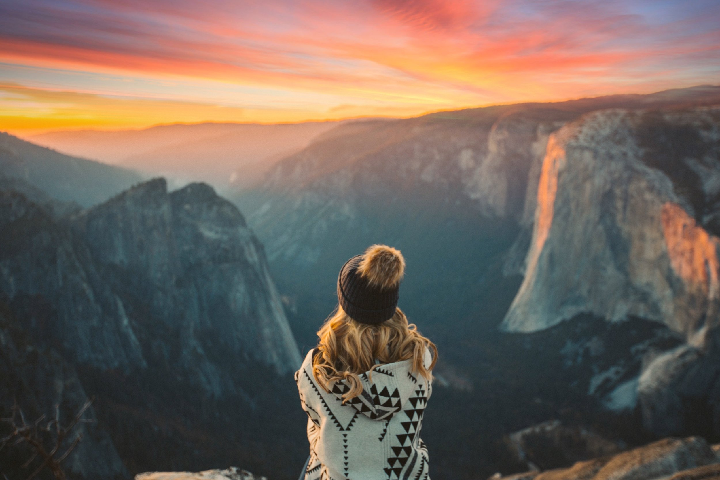 Nicole Renard watching the sunset over El Capitan