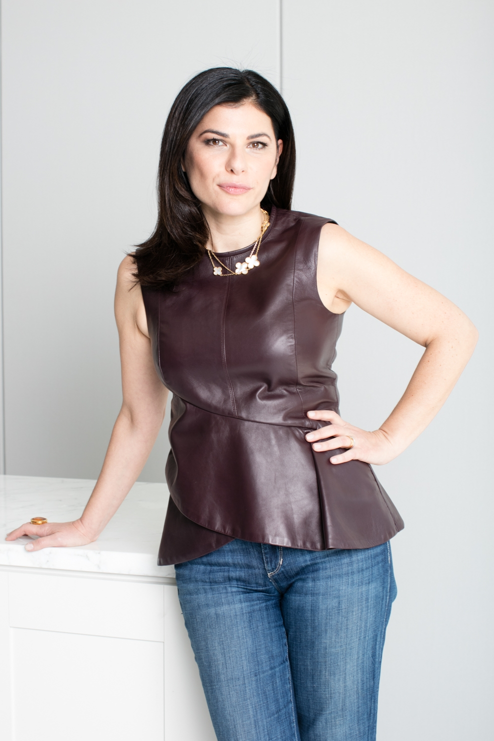 Nilou in leather top and jeans.jpg
