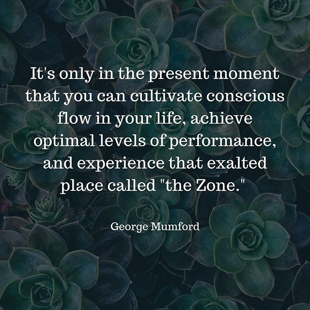 "MINDFUL MONDAY!  Athlete Alert 💪🏻 We've all been there... in the ""zone"" or in the ""flow"". But how do we consistently achieve this state? What does this look like? What does it feel like? ~~~~~~~~~~~~~~~~~~~~~~~~~~~~~~~~~~~~~~~~~~Mindfulness and meditation can help you get there... like @george.mumford says... they key is being able to be in the present moment 🧘🏼‍♀️🙇🏼‍♀️"